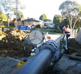 Poly Fusion welding of sewer main